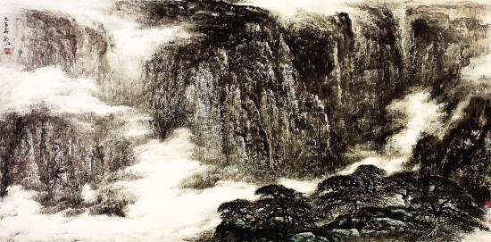 胡江 深山行云图 244 ×122cm