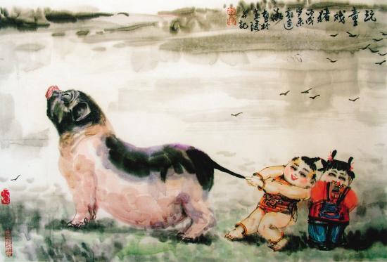 郭建华(南京) 玩童戏猪 中国画图片