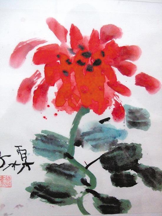 孙霖(5岁) 牡丹花 水墨画图片
