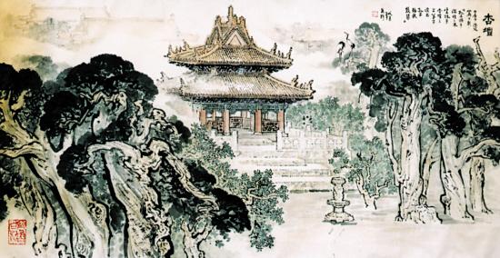 """五律    """"杏坛""""秋韵(原创) - 谷穗 - 潍河红叶"""