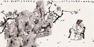 李兆虬 墙角数枝梅 68×136cm 中国画图片