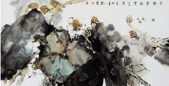 冯讶香织_王小黎 含风浑讶雪生香 136×68cm