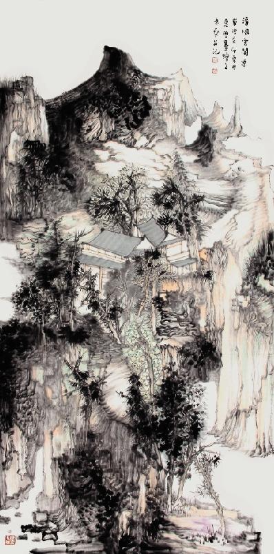 王贵华 清风云阁凉 136×68cm图片