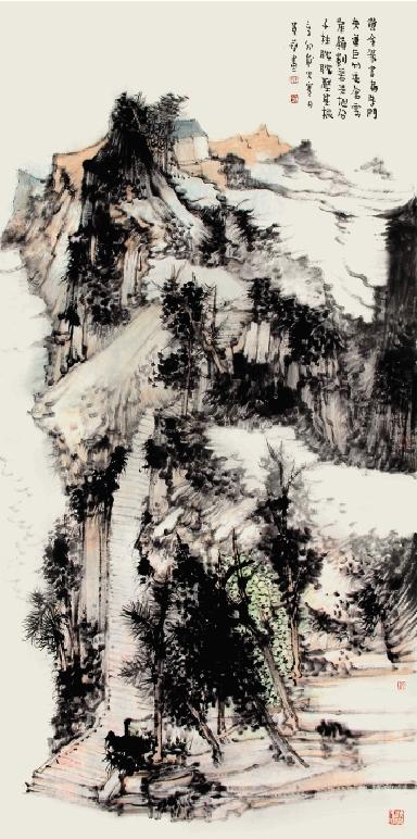 王贵华 黄金篆书扁朱门 136×68cm图片
